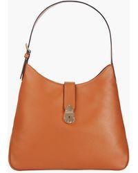 Calvin Klein Petit sac hobo en cuir avec fermoir - Marron