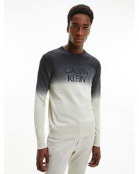 Calvin Klein Cotton Blend Dip Dye Jumper - Black