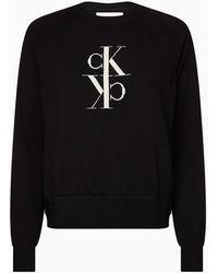 Calvin Klein Trui Van Gekamd Katoen Met Logo - Zwart