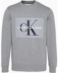 Calvin Klein Core Monogram Sweater Met Logoprint - Grijs