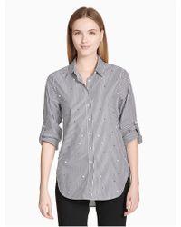 Calvin Klein Striped Pearl Button-down Boyfriend Shirt - Gray