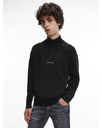 Calvin Klein Zip Neck Jumper - Black