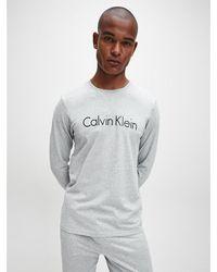 Calvin Klein Lounge-t-shirt Met Lange Mouwen - Comfort Cotton - Grijs