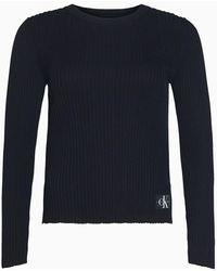 Calvin Klein Slim Geribbelde Trui Van Pointelle-breisel - Zwart