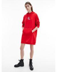 Calvin Klein Logo Sweatkleid aus Bio-Baumwolle - Rot