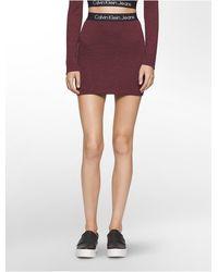 CALVIN KLEIN 205W39NYC - Jeans Heathered Logo Band Mini Skirt - Lyst