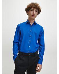 Calvin Klein Slim Fit Stretch Poplin Overhemd - Blauw