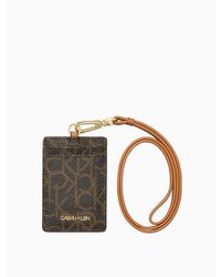 Calvin Klein Saffiano Leather Lanyard Card Case - Brown