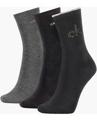 Calvin Klein 3 Pack Sparkle Crew Socks Gift Set - Black