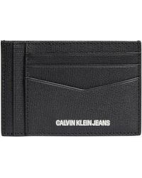 Calvin Klein Kartenetui aus Leder - Schwarz