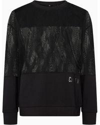 Calvin Klein Sweat en mlange de matires - Noir