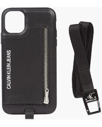 Calvin Klein Leren Keycord Iphone-etui - Zwart