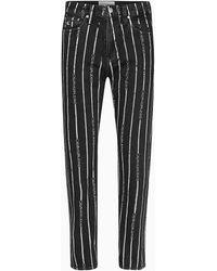 Calvin Klein Ckj 030 High Rise Straight Enkellange Jeans - Zwart