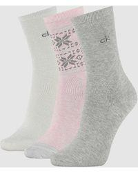 Calvin Klein 3 Pack Crew Socks Gift Set - Multicolour