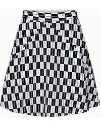 Calvin Klein A-lijn Minirok Met Dambordpatroon - Zwart