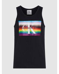 Calvin Klein Tanktop Van Bio-katoen Met Regenbooglogo - Zwart