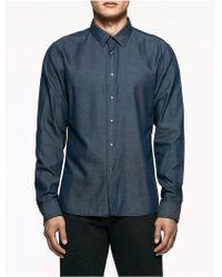 CALVIN KLEIN 205W39NYC - Platinum Platinum Denim Snap Shirt - Lyst