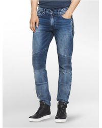 Calvin Klein Jeans Slim Leg Sunlit Moto Jeans - Blue