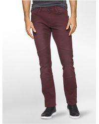 Calvin Klein Jeans Slim Leg Sateen Moto Jeans - Purple