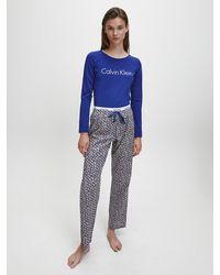 Calvin Klein Pyjama Met Broek - Blauw