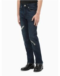 Calvin Klein - Boys Distressed Dark Wash Stretch Denim Jeans - Lyst
