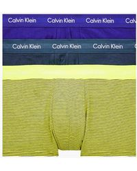 Calvin Klein 3 Pack Low Rise Trunks - Cotton Stretch - Blue