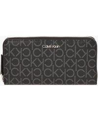 Calvin Klein Large Logo Zip Around Wallet - Black