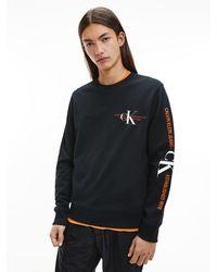 Calvin Klein Sweatshirt Met Grafisch Logo Van Biologisch Katoen - Zwart