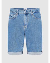 Calvin Klein Slim Denim Korte Broek - Blauw