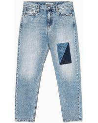 Calvin Klein Ckj 061 Mid Rise Boyfriend Patchwork Jeans - Blauw