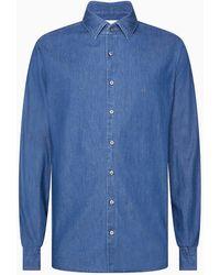 Calvin Klein Slim Denim Overhemd - Blauw