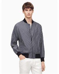 Calvin Klein - Oversized Stripe Bomber Jacket - Lyst