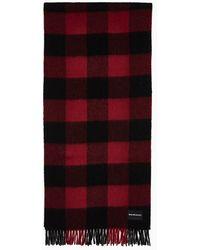 Calvin Klein Geruite Wollen Sjaal - Rood