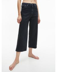 Calvin Klein Wide Leg Cropped Jeans - Black