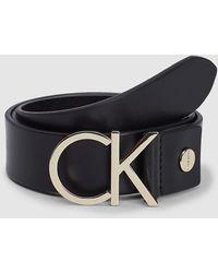 Calvin Klein Leren Riem Met Logo - Zwart