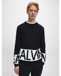 Calvin Klein Katoen-kasjmier Trui Met Logo - Zwart