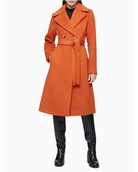 Calvin Klein Wool Blend Double Breasted Belted Coat - Orange