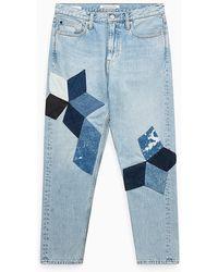 Calvin Klein Ckj 020 High Rise Slim Patchwork Jeans - Blauw