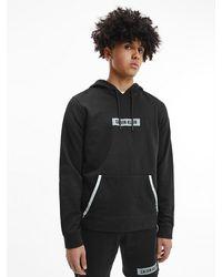 Calvin Klein Sweat-shirt capuche en tissu ponge de coton - Noir