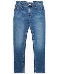 Calvin Klein Skinny Jeans Met Luxe Voering - Blauw