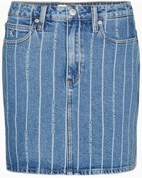 Calvin Klein Grote Maat Denim Minirok Met Hoge Taille - Blauw