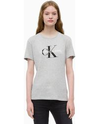 Calvin Klein Logo-print Stretch-cotton T-shirt - Grey