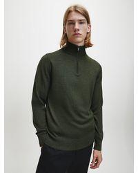 Calvin Klein Trui Met Ritskraag Van Premium Wol - Groen