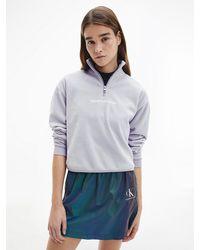 Calvin Klein - Sweatshirt Van Polar Fleece Met Halsrits - Lyst