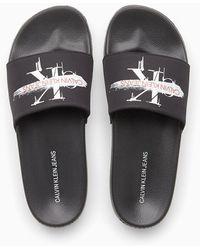 Calvin Klein Twill Sliders - Zwart