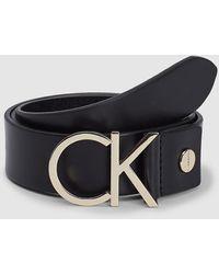 Calvin Klein Ledergürtel mit Logo-Schließe - Schwarz