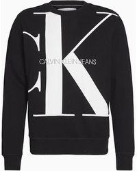 Calvin Klein Grote Maat Sweatshirt Met Logo Van Biologisch Katoen - Zwart