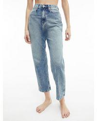 Calvin Klein High Rise Straight Enkellange Jeans - Blauw