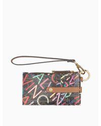 Calvin Klein Multi-color Logo Zip Card Case - Brown
