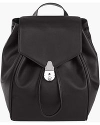 Calvin Klein Lock Leather Flap Backpack - Black